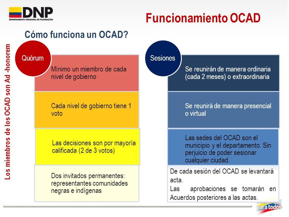 Los miembros de los OCAD son Ad -honorem