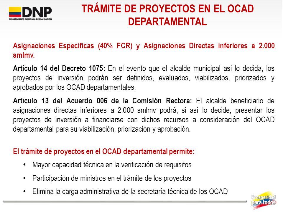 TRÁMITE DE PROYECTOS EN EL OCAD DEPARTAMENTAL