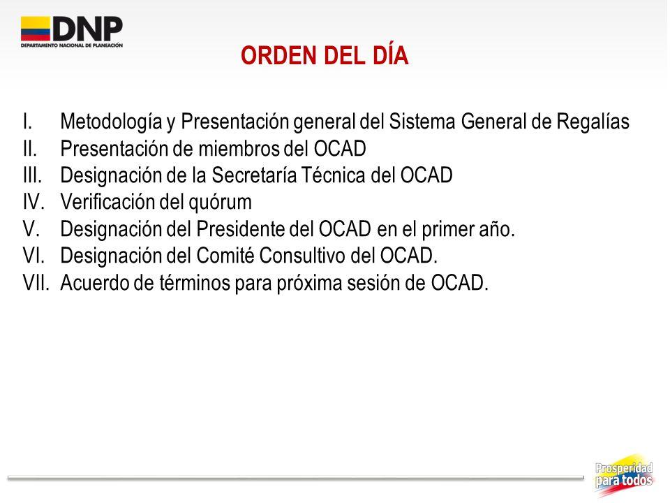 ORDEN DEL DÍA Metodología y Presentación general del Sistema General de Regalías. Presentación de miembros del OCAD.