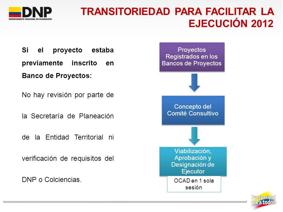 TRANSITORIEDAD PARA FACILITAR LA EJECUCIÓN 2012
