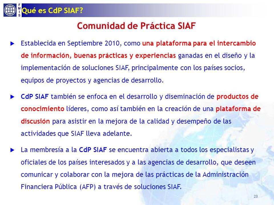 CdP SIAF – Productos de Conocimiento