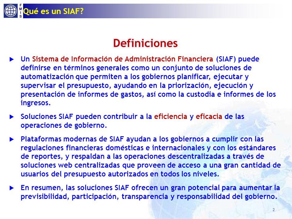 T Qué es SIAF B SIAF: F = B + T (+ O) O BD SIAF O