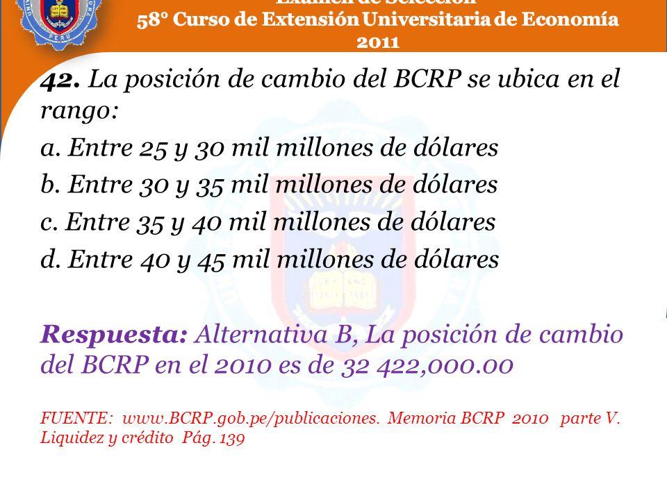 42. La posición de cambio del BCRP se ubica en el rango: