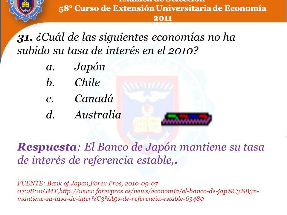 31. ¿Cuál de las siguientes economías no ha subido su tasa de interés en el 2010