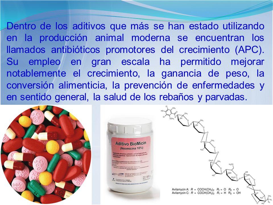 Dentro de los aditivos que más se han estado utilizando en la producción animal moderna se encuentran los llamados antibióticos promotores del crecimiento (APC).