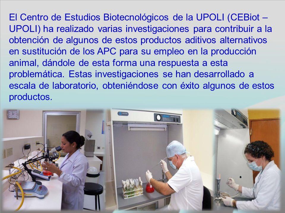 El Centro de Estudios Biotecnológicos de la UPOLI (CEBiot – UPOLI) ha realizado varias investigaciones para contribuir a la obtención de algunos de estos productos aditivos alternativos en sustitución de los APC para su empleo en la producción animal, dándole de esta forma una respuesta a esta problemática.