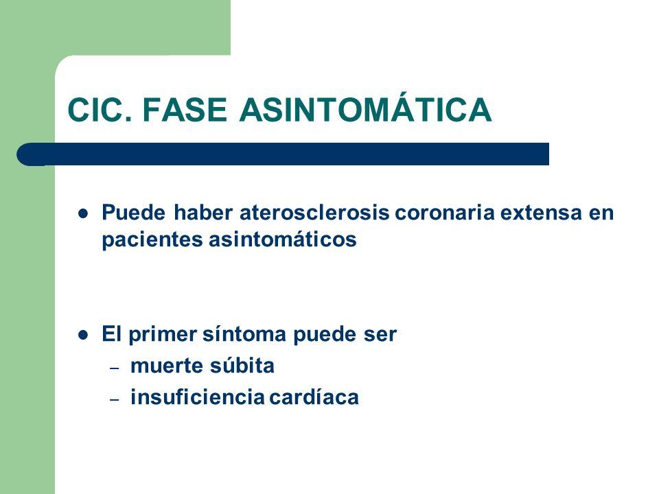 CIC. FASE ASINTOMÁTICA Puede haber aterosclerosis coronaria extensa en pacientes asintomáticos. El primer síntoma puede ser.