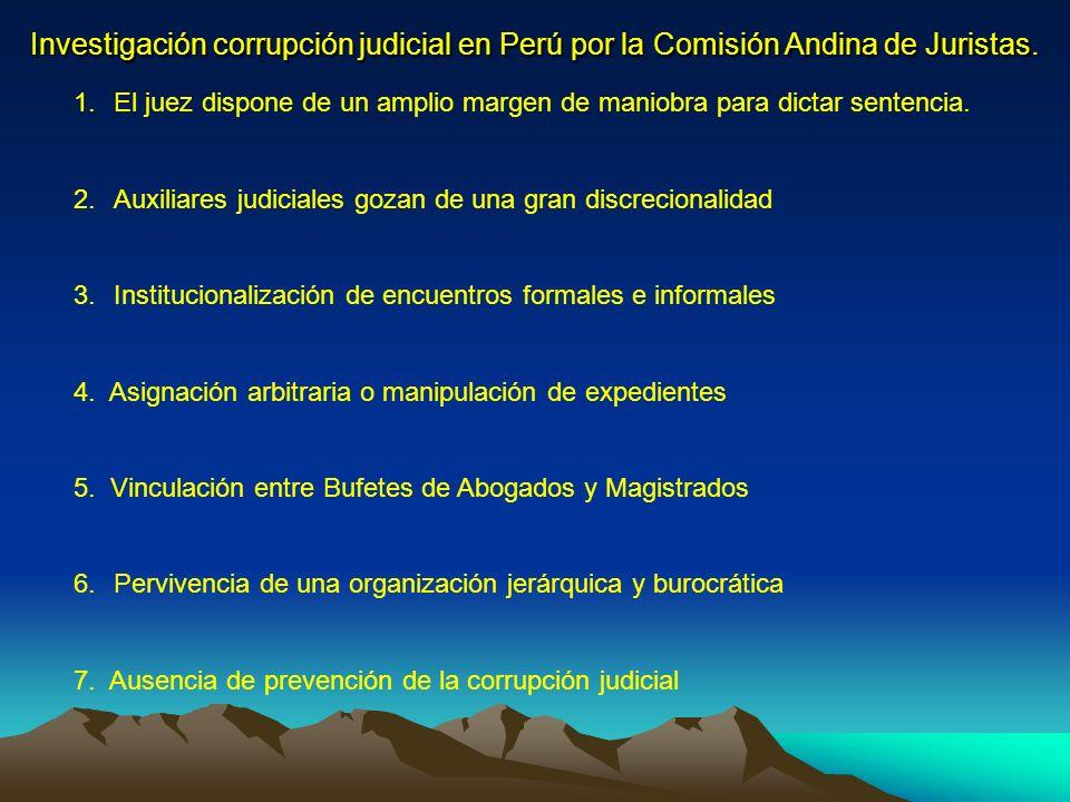 Investigación corrupción judicial en Perú por la Comisión Andina de Juristas.