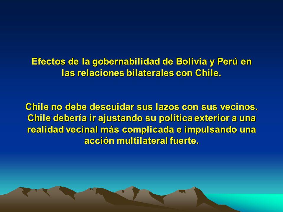 Efectos de la gobernabilidad de Bolivia y Perú en las relaciones bilaterales con Chile.