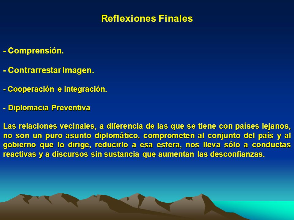 Reflexiones Finales - Comprensión. - Contrarrestar Imagen.