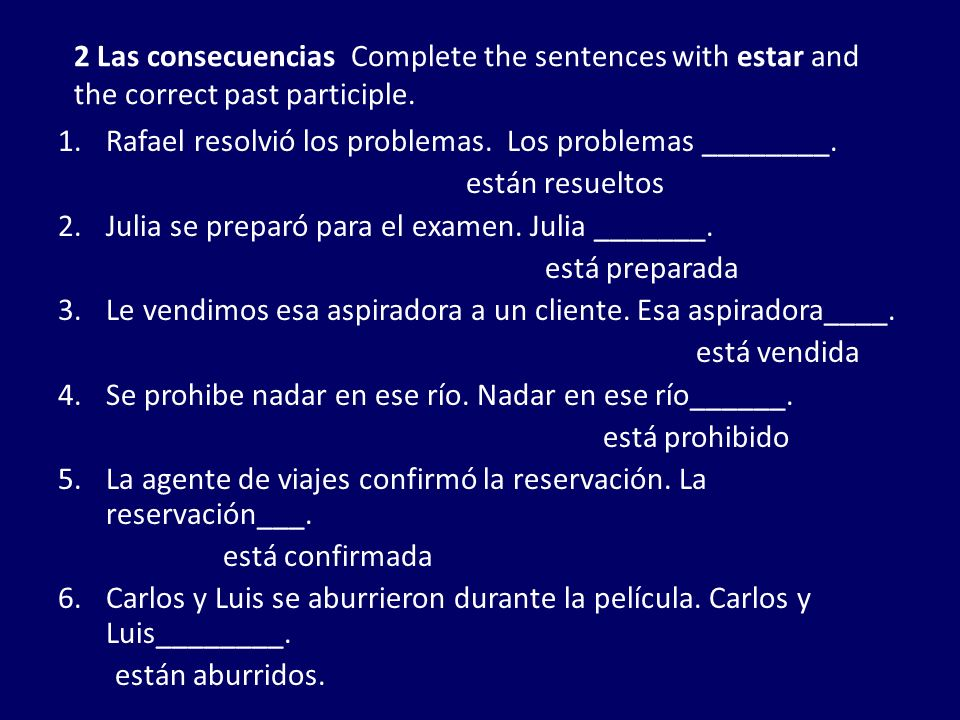 2 Las consecuencias Complete the sentences with estar and the correct past participle.