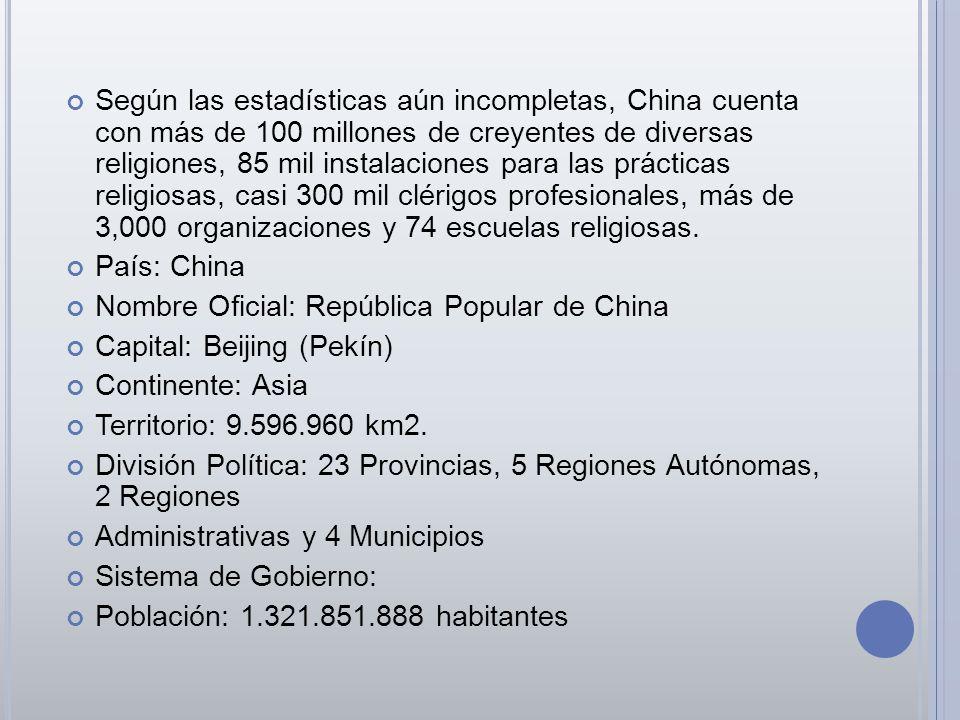 Según las estadísticas aún incompletas, China cuenta con más de 100 millones de creyentes de diversas religiones, 85 mil instalaciones para las prácticas religiosas, casi 300 mil clérigos profesionales, más de 3,000 organizaciones y 74 escuelas religiosas.