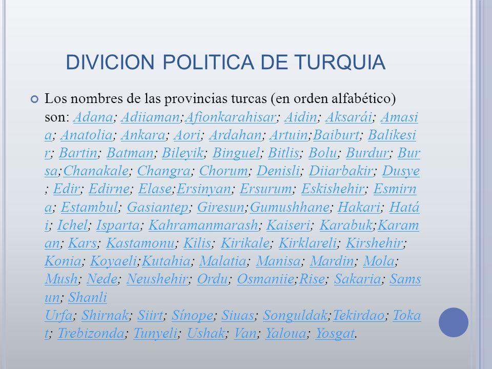 DIVICION POLITICA DE TURQUIA