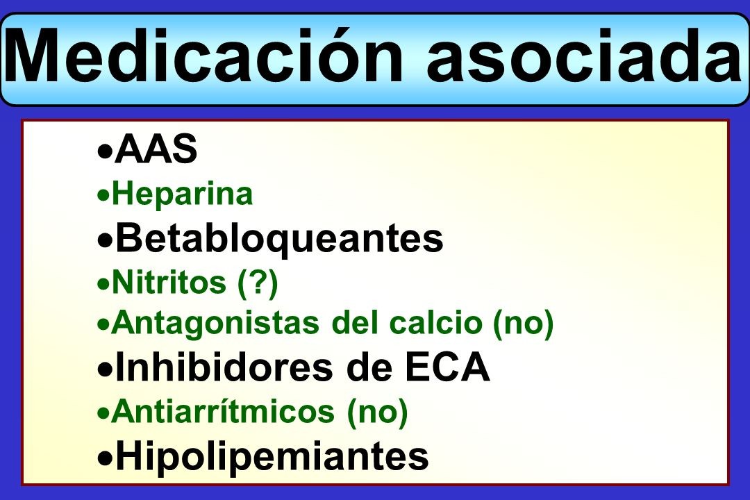 Medicación asociada AAS Betabloqueantes Inhibidores de ECA