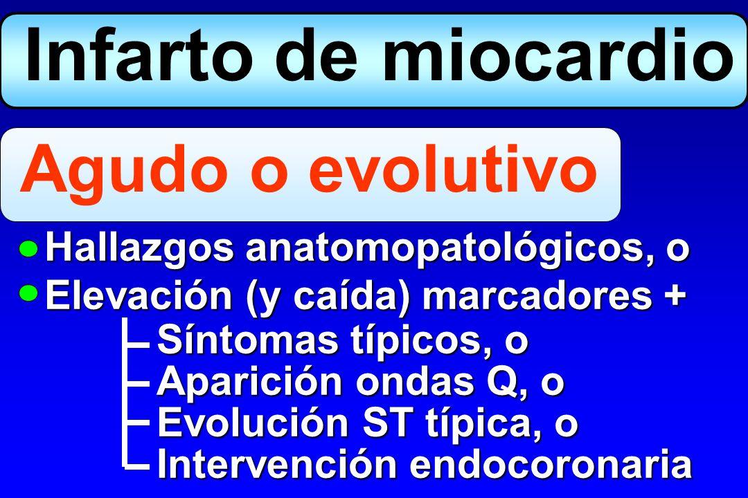 Infarto de miocardio Agudo o evolutivo Hallazgos anatomopatológicos, o