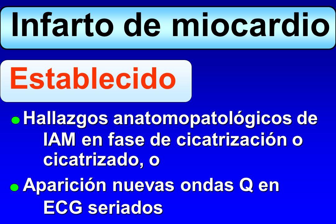 Infarto de miocardio Establecido Hallazgos anatomopatológicos de
