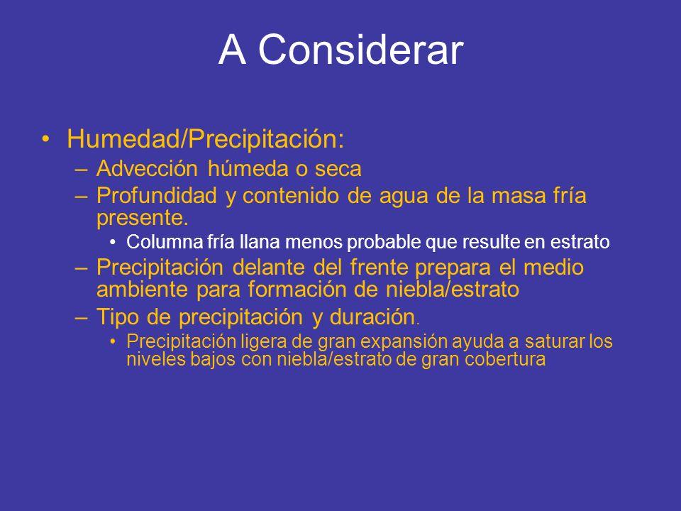 A Considerar Humedad/Precipitación: Advección húmeda o seca
