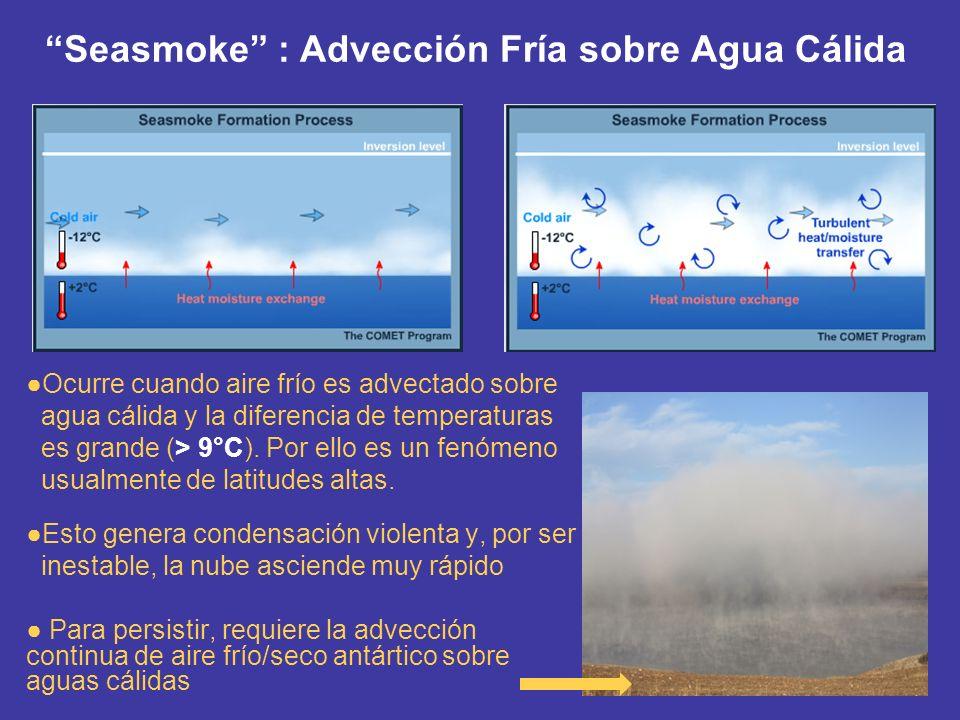 Seasmoke : Advección Fría sobre Agua Cálida