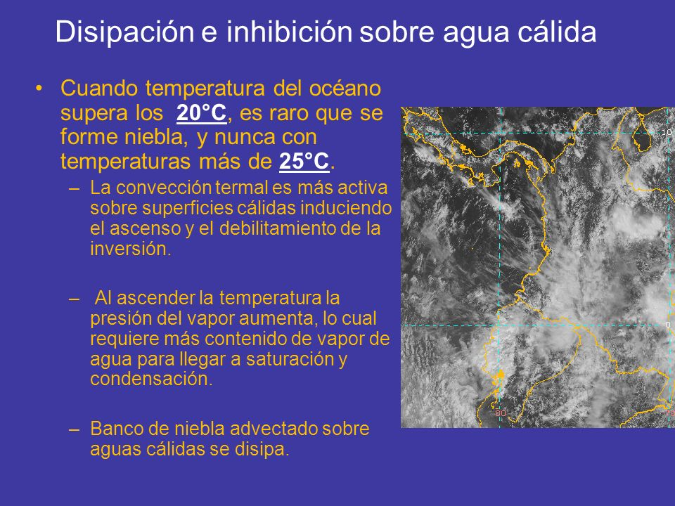 Disipación e inhibición sobre agua cálida