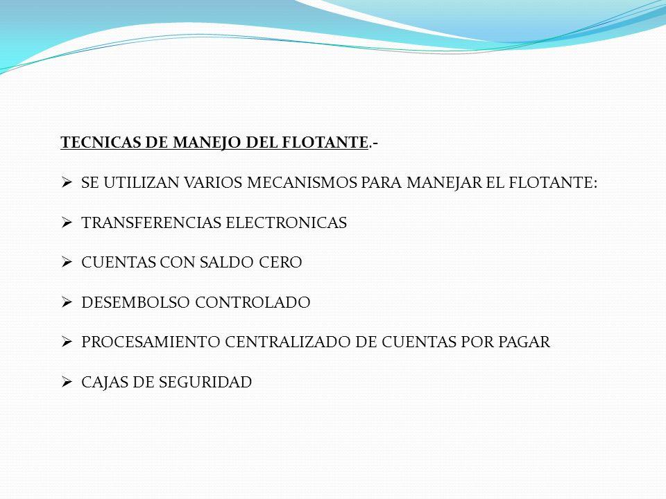 TECNICAS DE MANEJO DEL FLOTANTE.-