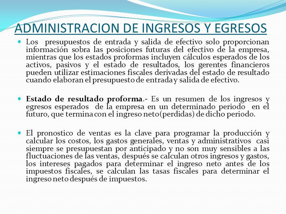 ADMINISTRACION DE INGRESOS Y EGRESOS