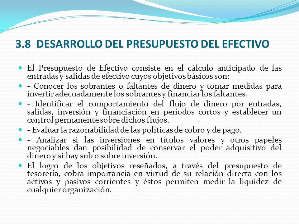 3.8 DESARROLLO DEL PRESUPUESTO DEL EFECTIVO