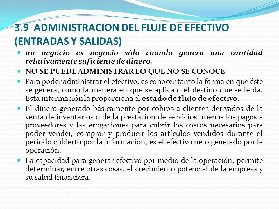 3.9 ADMINISTRACION DEL FLUJE DE EFECTIVO (ENTRADAS Y SALIDAS)