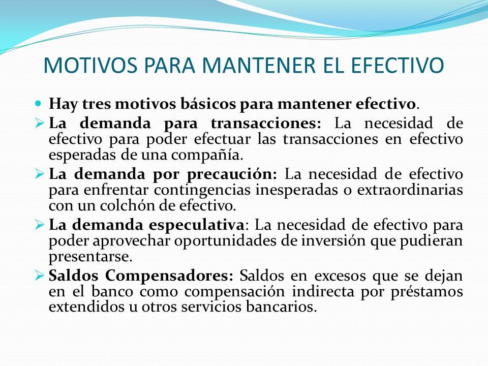 MOTIVOS PARA MANTENER EL EFECTIVO
