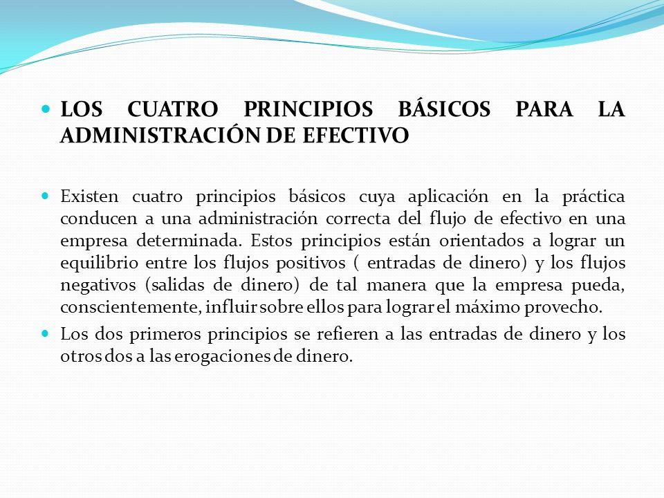 LOS CUATRO PRINCIPIOS BÁSICOS PARA LA ADMINISTRACIÓN DE EFECTIVO