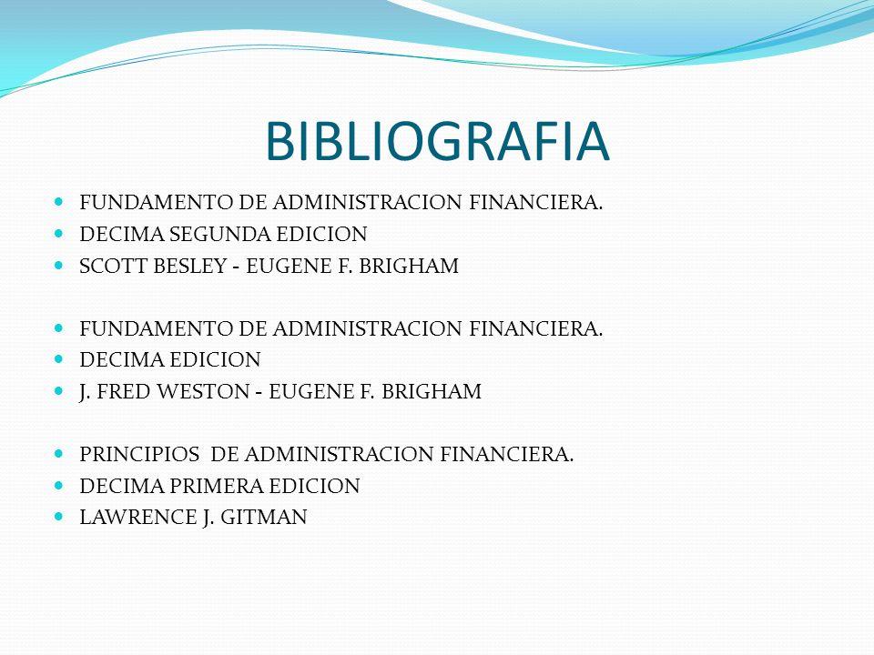 BIBLIOGRAFIA FUNDAMENTO DE ADMINISTRACION FINANCIERA.