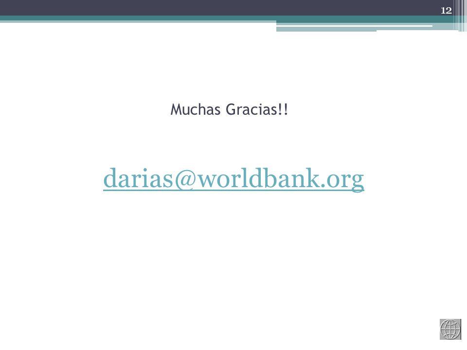 Muchas Gracias!! darias@worldbank.org