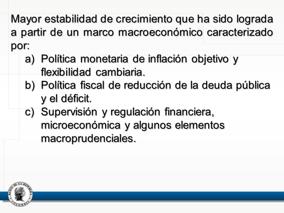 Mayor estabilidad de crecimiento que ha sido lograda a partir de un marco macroeconómico caracterizado por: