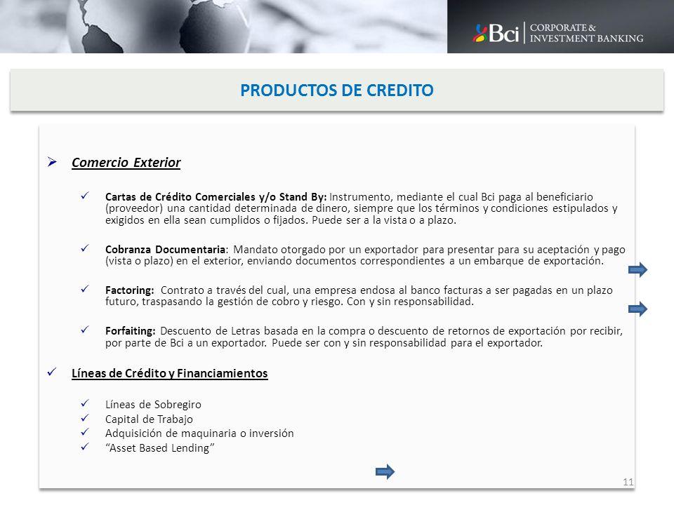 PRODUCTOS DE CREDITO Comercio Exterior