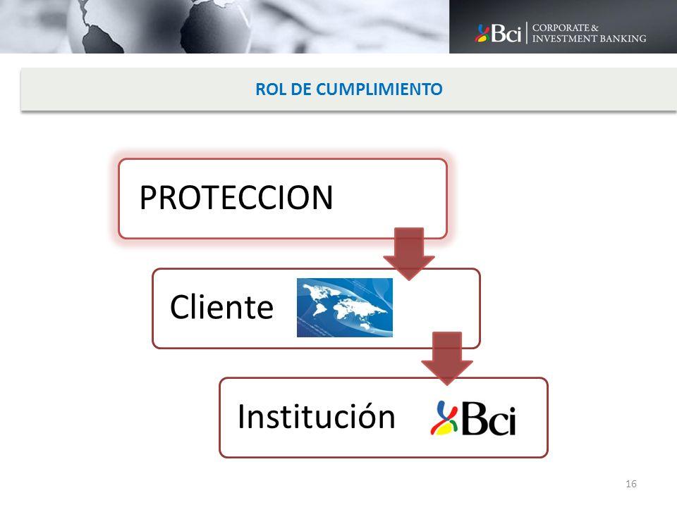 ROL DE CUMPLIMIENTO PROTECCION Cliente Institución