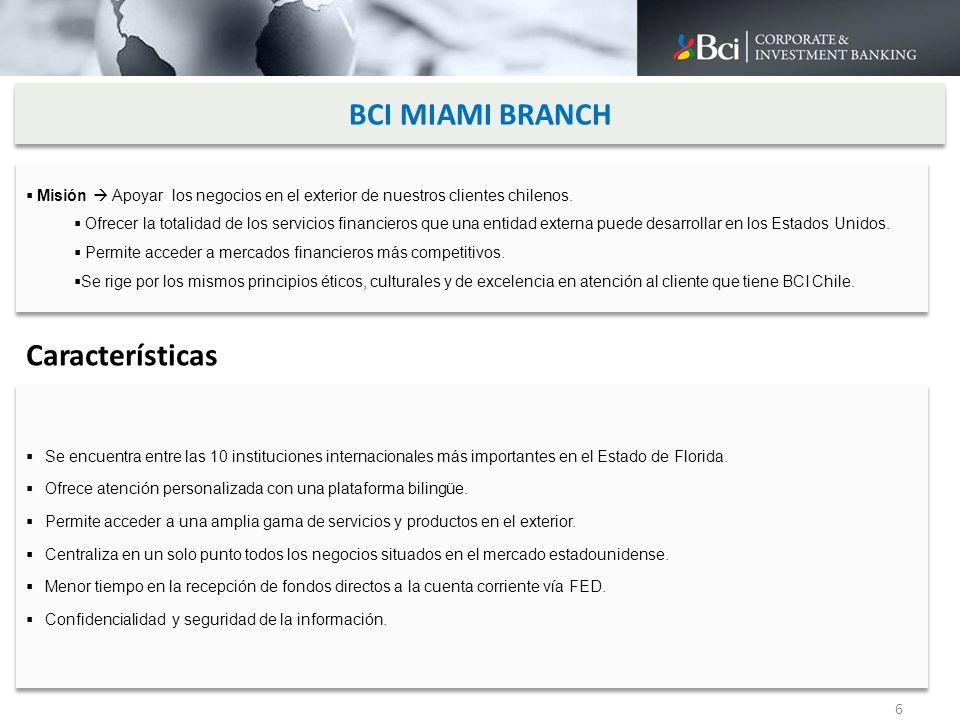 BCI MIAMI BRANCH Características