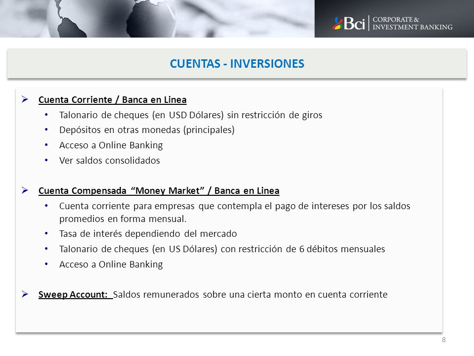 CUENTAS - INVERSIONES Cuenta Corriente / Banca en Linea