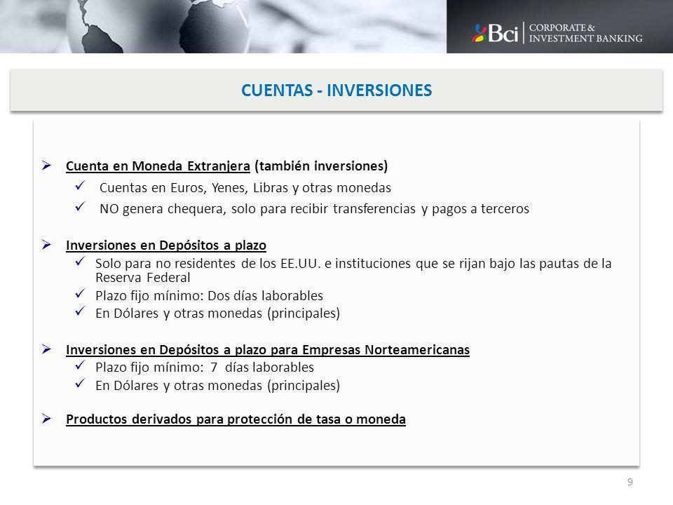 CUENTAS - INVERSIONES Cuenta en Moneda Extranjera (también inversiones) Cuentas en Euros, Yenes, Libras y otras monedas.