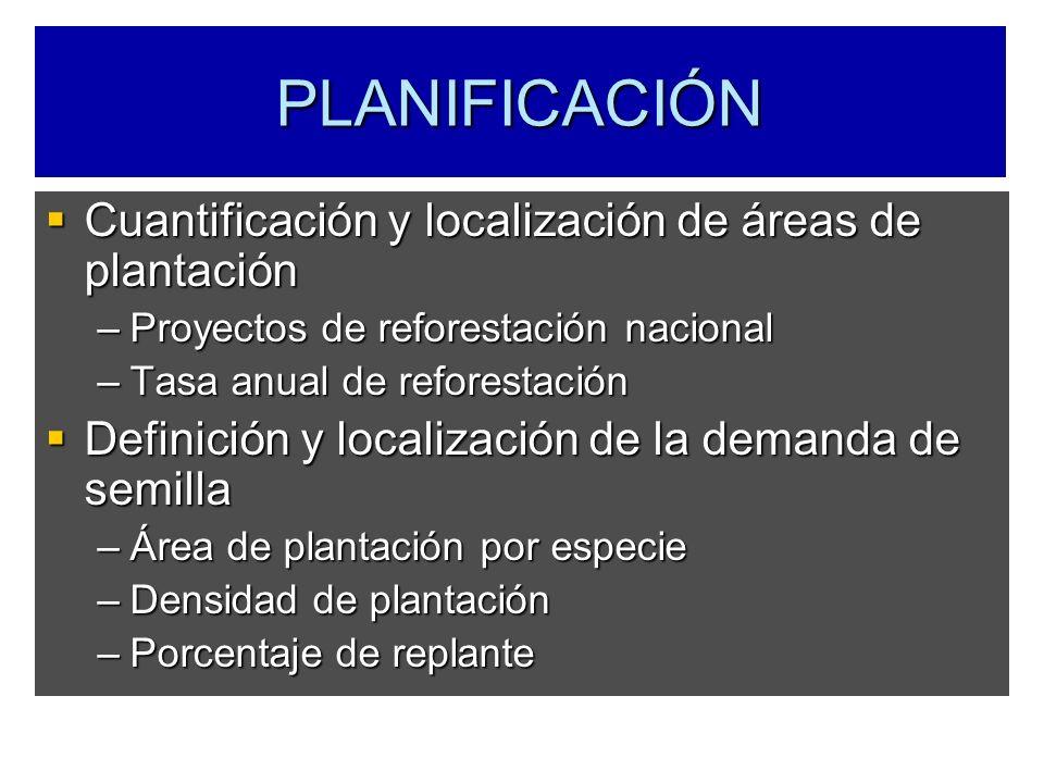 PLANIFICACIÓN Cuantificación y localización de áreas de plantación