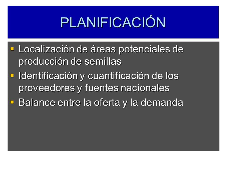 PLANIFICACIÓN Localización de áreas potenciales de producción de semillas. Identificación y cuantificación de los proveedores y fuentes nacionales.