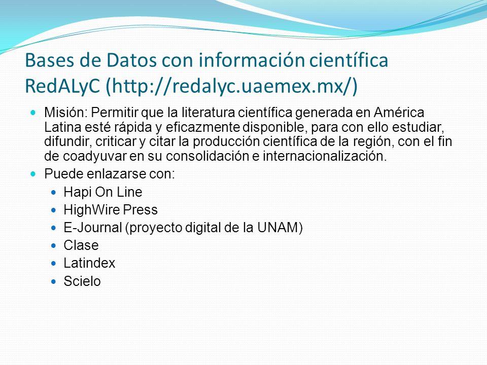 Bases de Datos con información científica RedALyC (http://redalyc