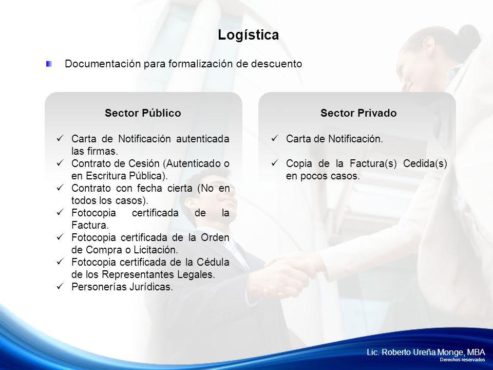 Logística Documentación para formalización de descuento Sector Público