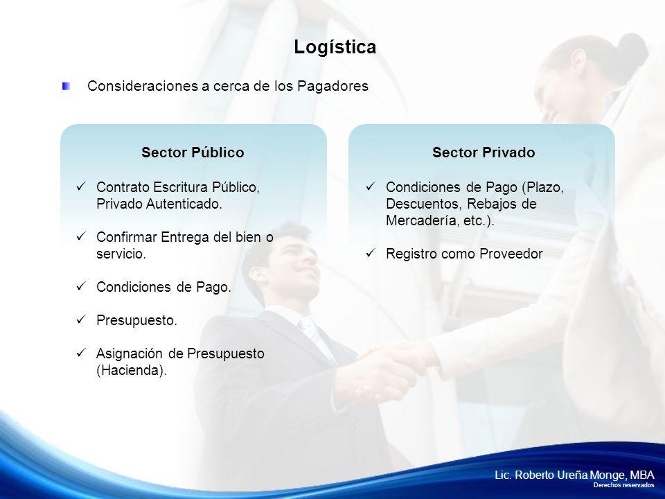 Logística Consideraciones a cerca de los Pagadores Sector Público