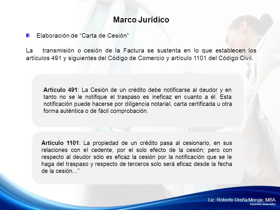 Marco Jurídico Elaboración de Carta de Cesión