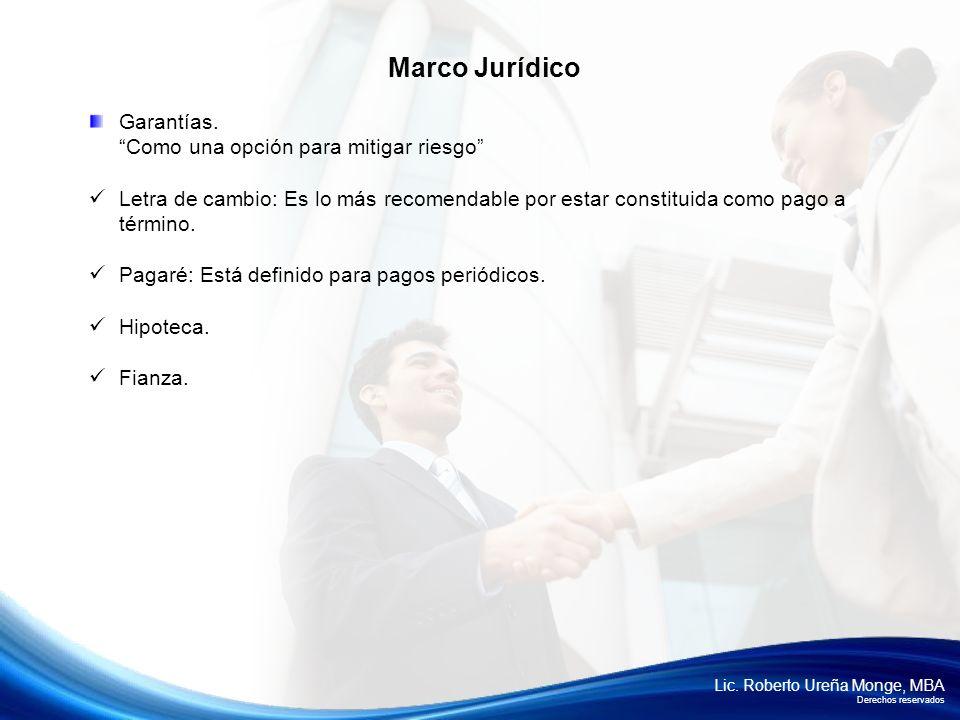 Marco Jurídico Garantías. Como una opción para mitigar riesgo