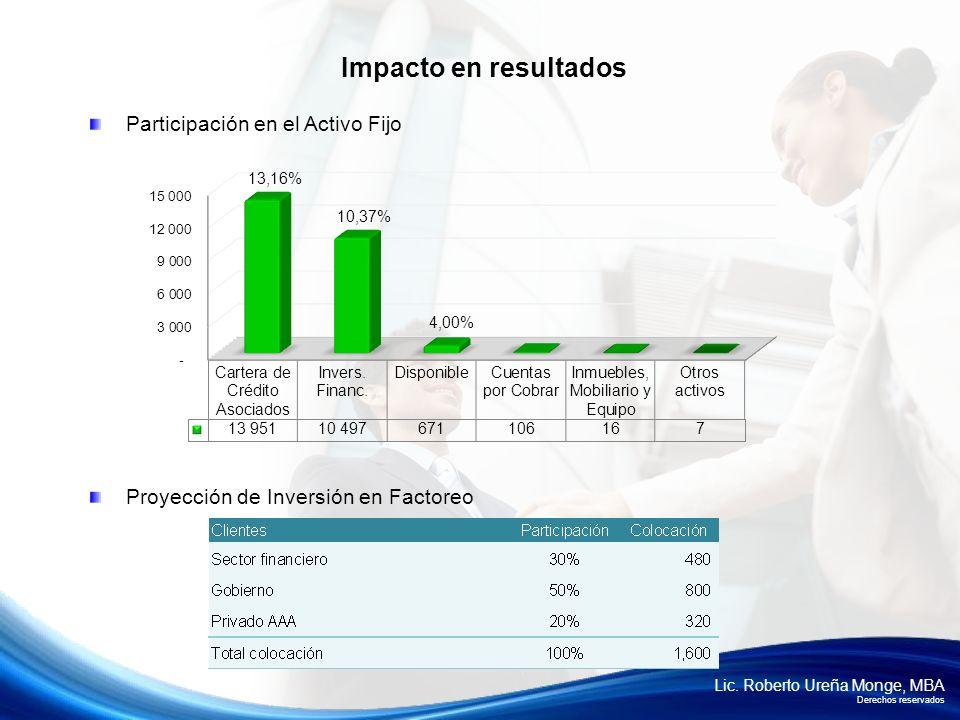 Impacto en resultados Participación en el Activo Fijo