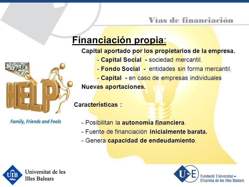 Financiación propia: Vías de financiación