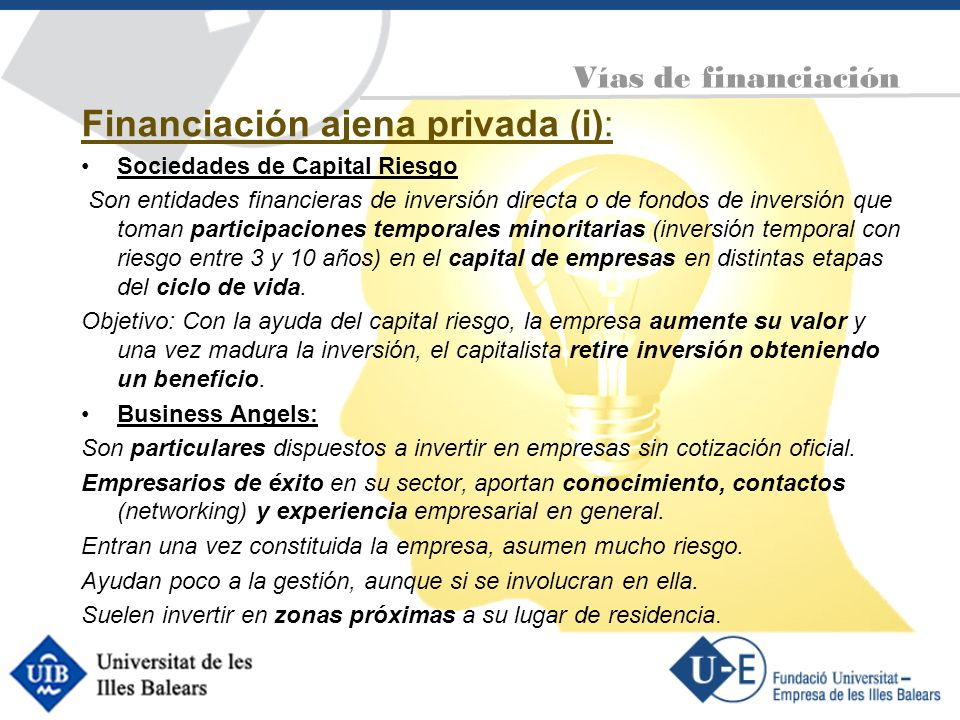 Financiación ajena privada (i):