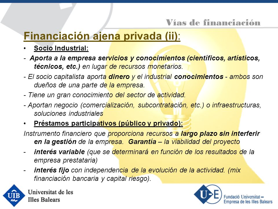 Financiación ajena privada (ii):