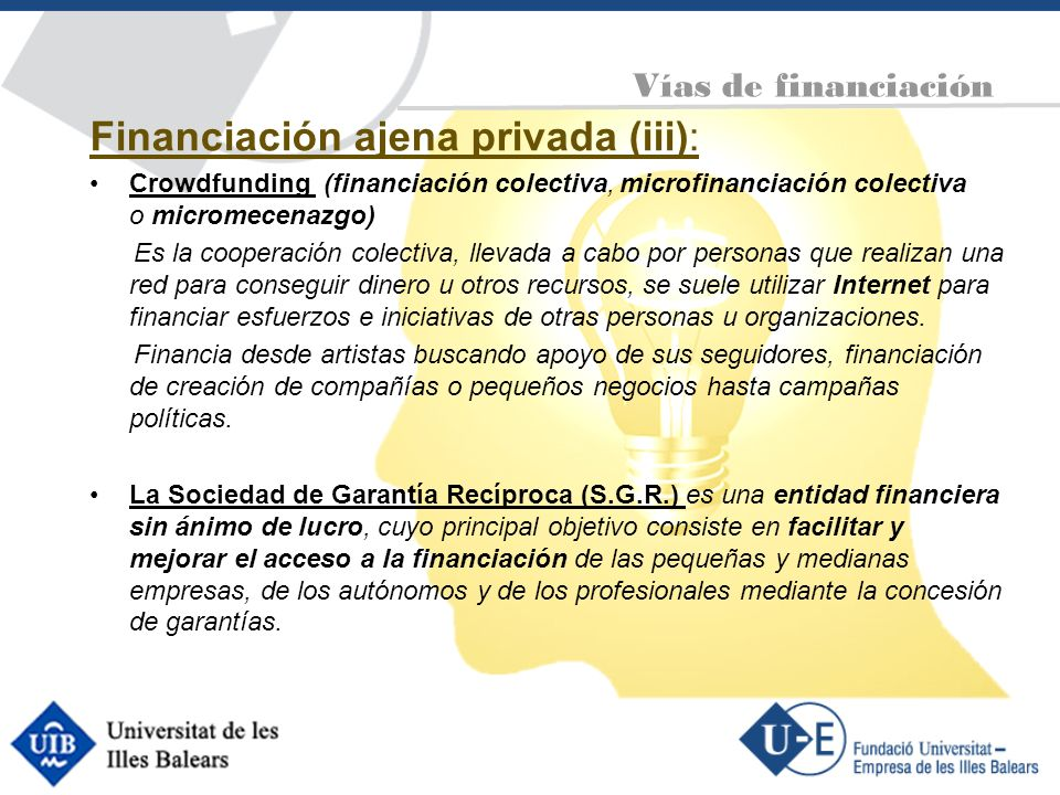 Financiación ajena privada (iii):