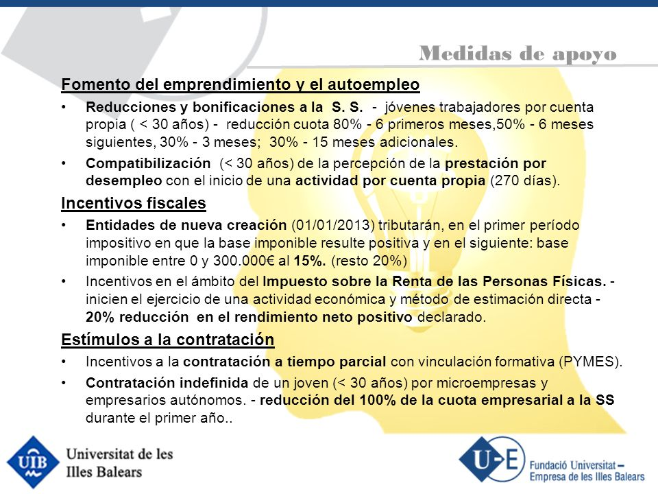 Medidas de apoyo Fomento del emprendimiento y el autoempleo